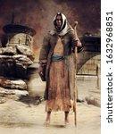 Hooded Wanderer Standing Among...