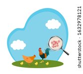 h5n1 disease in chicken....   Shutterstock .eps vector #1632978121