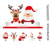 christmas set santa claus ... | Shutterstock . vector #163305491