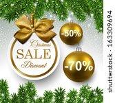 sale golden round labels.... | Shutterstock .eps vector #163309694