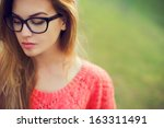 portrait of a beautiful hipster ... | Shutterstock . vector #163311491