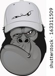 funny gorilla in a baseball cap - stock vector