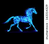 Raster version. Blue fire horse in motion on black background. - stock photo