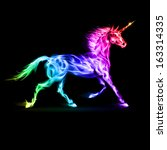 Raster version. Fire unicorn in spectrum colors on black background. - stock photo