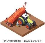 vector isometric tractor with... | Shutterstock .eps vector #1633164784