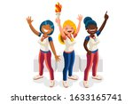 crowd of persons celebrate... | Shutterstock .eps vector #1633165741