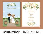 cute couple with rustic wedding ... | Shutterstock .eps vector #1633198261