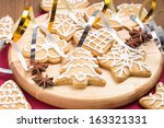 christmas gingerbread cookies... | Shutterstock . vector #163321331