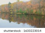 Muted autumn foliage reflections on the Chippewa River at Brunet Island State Park, central Wisconsin.