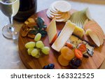 overhead view of a cheese and... | Shutterstock . vector #163322525