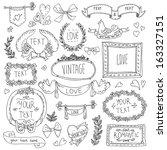 vintage label set  hand drawn... | Shutterstock .eps vector #163327151