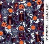 halloween seamless pattern ... | Shutterstock .eps vector #1633341184