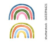 watercolor cute rainbow set....   Shutterstock . vector #1633396621