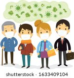 group of people wearing face...   Shutterstock .eps vector #1633409104