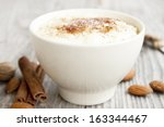 creamy rice pudding with... | Shutterstock . vector #163344467