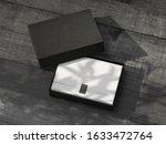 opened black gift box mockup...   Shutterstock . vector #1633472764