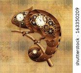 steampunk chameleon vintage... | Shutterstock . vector #163350209