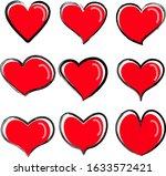 vector hearts icons set.... | Shutterstock .eps vector #1633572421
