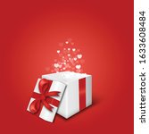 gift box  with fly hearts. .... | Shutterstock .eps vector #1633608484