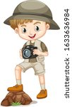 Cute Boy In Safari Outfit On...