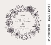 little garden. wreath with... | Shutterstock .eps vector #1633716457