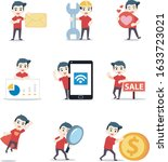 set of character a pizza... | Shutterstock .eps vector #1633723021