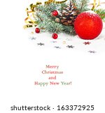 christmas tree branch with gold ... | Shutterstock . vector #163372925