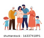 a large happy family is...   Shutterstock .eps vector #1633741891