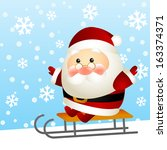 funny santa on a sled | Shutterstock .eps vector #163374371