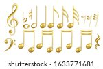 musical notes symbols in golden ... | Shutterstock .eps vector #1633771681