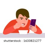 boy eats with phone in his... | Shutterstock .eps vector #1633821277