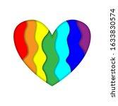 rainbow paper cut heart colors... | Shutterstock . vector #1633830574