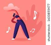 slim girl in sports wear engage ...   Shutterstock .eps vector #1633855477