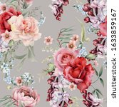 seamless floral pattern with... | Shutterstock . vector #1633859167