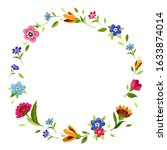 round flower frame for... | Shutterstock . vector #1633874014
