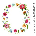 oval flower frame for... | Shutterstock . vector #1633874017