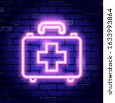 medical kit neon signboard.... | Shutterstock .eps vector #1633993864