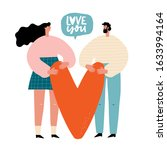 man and woman hold big heart.... | Shutterstock .eps vector #1633994164