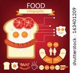 breakfast. fried egg. sausage.... | Shutterstock .eps vector #163401209