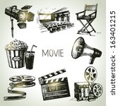 movie and film set. hand drawn... | Shutterstock .eps vector #163401215