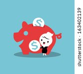 saving money with piggy bank | Shutterstock .eps vector #163402139