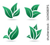 green sign  eco leaves. natural ... | Shutterstock .eps vector #163408091