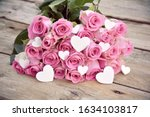 Pink Bouquet Of Roses With...