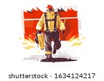 firefighter characters with... | Shutterstock .eps vector #1634124217