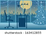 christmas office with santa's... | Shutterstock .eps vector #163412855