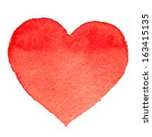 watercolor painted red heart ... | Shutterstock .eps vector #163415135