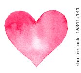 watercolor painted pink heart ... | Shutterstock .eps vector #163415141