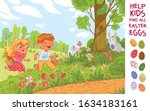 egg hunt. help the children... | Shutterstock .eps vector #1634183161