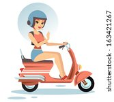 beautiful woman with her scooter | Shutterstock .eps vector #163421267