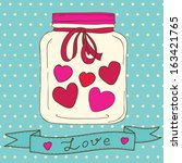 vector cute jar with hearts to... | Shutterstock .eps vector #163421765